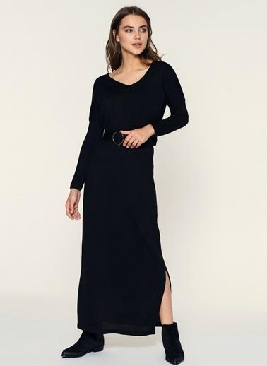 Loves You Beli Lastikli Uzun Örme Elbise Siyah